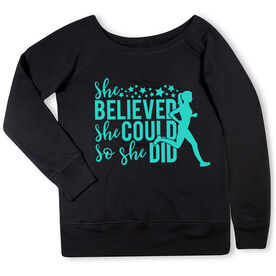 Running Fleece Wide Neck Sweatshirt - She Believed She Could Stars