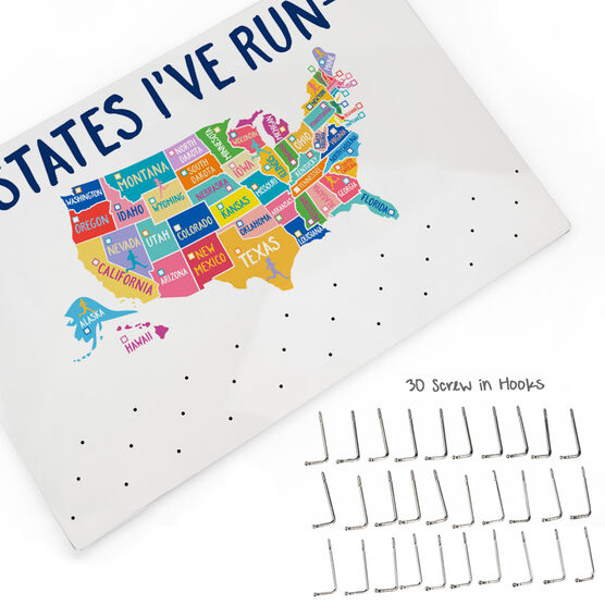Running Large Hooked on Medals Hanger - States I've Run Colorful