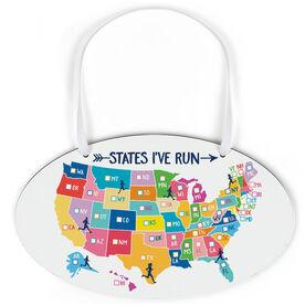 Running Oval Sign - States I've Run (Dry Erase)