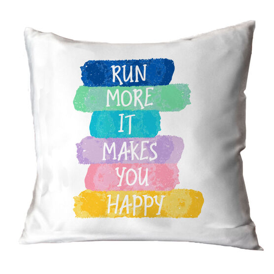 Running Decorative Pillow - Run More It Makes You Happy
