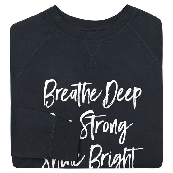 Running Raglan Crew Neck Sweatshirt - Breathe Deep Run Strong