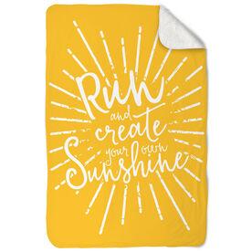Running Sherpa Fleece Blanket - Run With Sunshine
