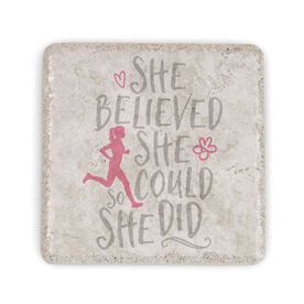Running Stone Coaster She Believed She Could