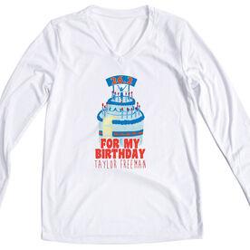 Women's Customized White Long Sleeve Tech Tee For my Birthday 26.2