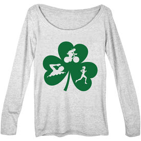 Women's Scoop Neck Long Sleeve Tee Swim Bike Run Female Shamrock