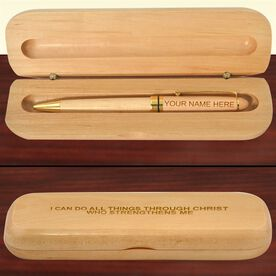Engraved I Can Do All Things Quote Wood Pen and Case