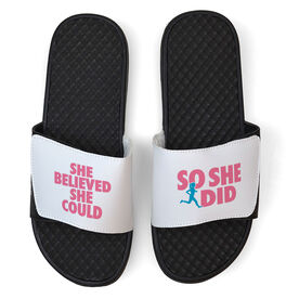 Running White Slide Sandals - She Believed She Could So She Did Text