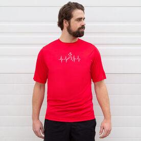 Men's Running Short Sleeve Tech Tee - Heart Beat Male Runner