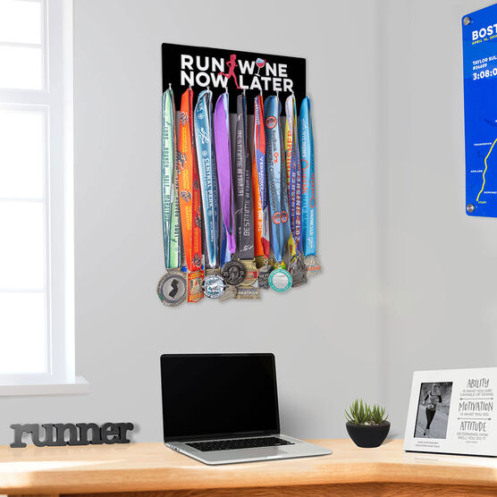 Running Hooked on Medals Hanger - Run Now Wine Later