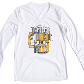 Women's Customized White Long Sleeve Tech Tee Will Run For Beer