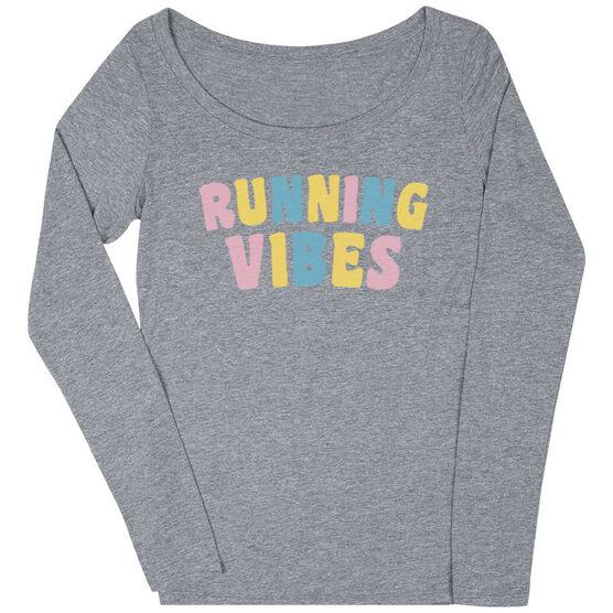 Women's Runner Scoop Neck Long Sleeve Tee - Running Vibes