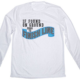 Men's Running Customized Long Sleeve Tech Tee If Found On Ground Please Drag To Finish Line