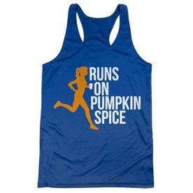 Women's Racerback Performance Tank Top - Runs On Pumpkin Spice