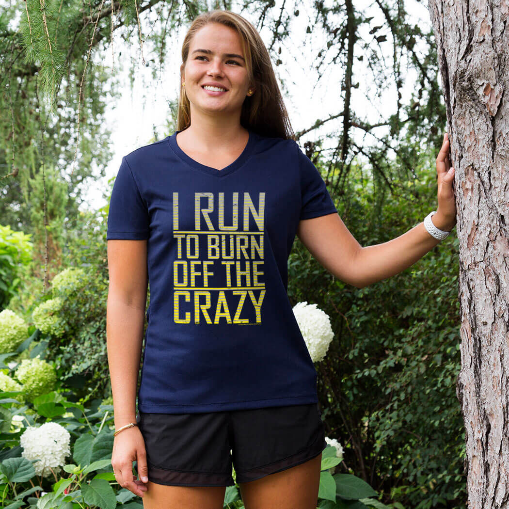 Running T-Shirt Funny Womens R Neck Sports Performance Tee Im Only Half Crazy