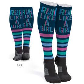 Running Printed Knee-High Socks - Let's Run Like A Girl