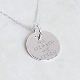 Sterling Silver She Believed She Could 13.1 NY Engraved 20mm Pendant Necklace