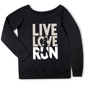 Running Fleece Wide Neck Sweatshirt - Live Love Run Silhouette