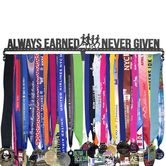Extra Long Race Medal Hanger Always Earned Never Given MedalART