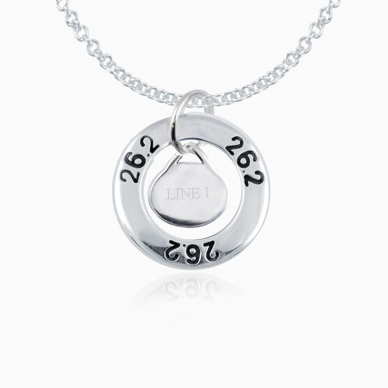 Sterling Silver 26.2 Marathon Message Ring and Sterling Silver Oval Run Charm Necklace