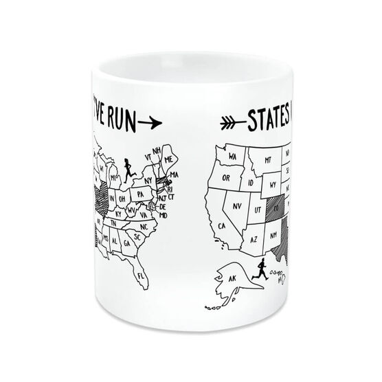 Running Coffee Mug - States I've Run Outline