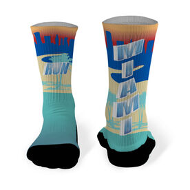 Running Printed Mid Calf Socks Miami Skyline