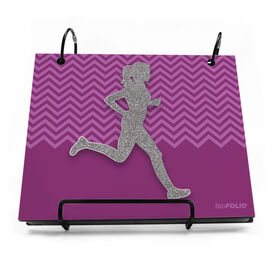BibFOLIO® Race Bib Album - Runner Girl Faux Glitter Chevron