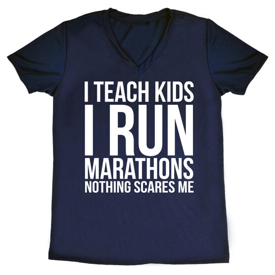 Women's Running Short Sleeve Tech Tee - I Teach Kids I Run Marathons