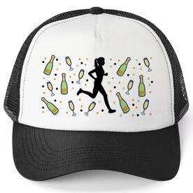 Running Trucker Hat - Champagne Female Runner