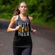 Women's Racerback Performance Tank Top - Will Run For Beer