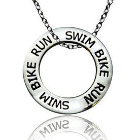 Triathlon Message Ring Necklace