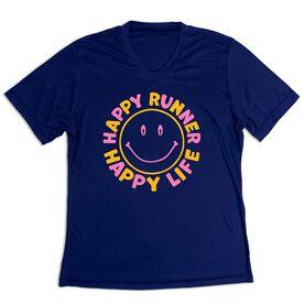 Women's Short Sleeve Tech Tee - Happy Runner Happy Life