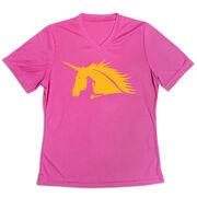 Women's Short Sleeve Tech Tee - Run With Unicorns - Runner Girl