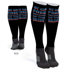 Running Printed Knee-High Socks - We Run Free Patriotic