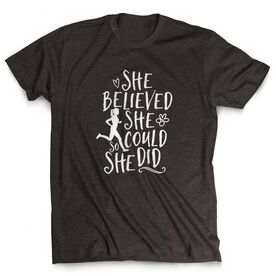 Running Short Sleeve T-Shirt - She Believed She Could (Sketch)