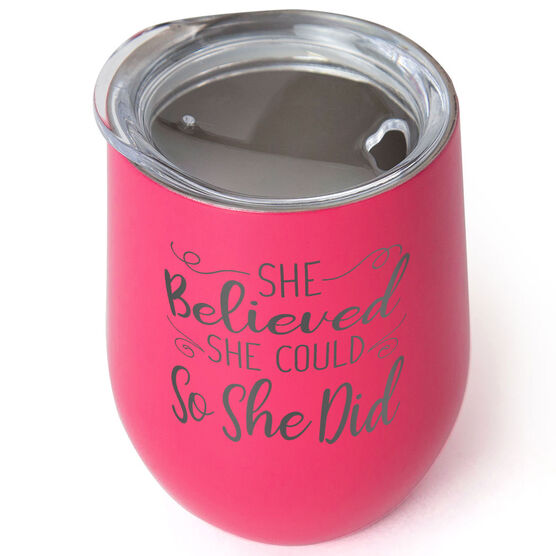 Running Stainless Wine Tumbler - She Believed She Could So She Did