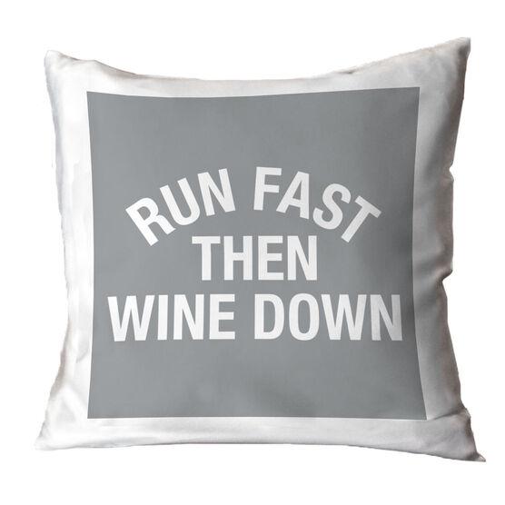 Running Throw Pillow - Run Fast Then Wine Down