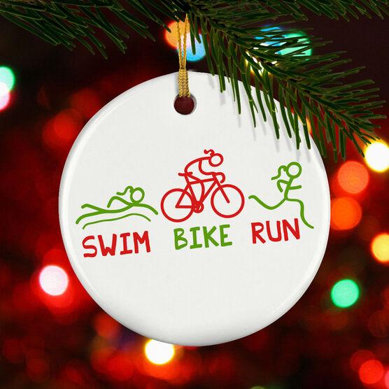 Triathlon Porcelain Ornament Swim Bike Run Figures Female
