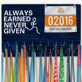 Hooked On Medals Bib & Medal Display Always Earned Never Given (Male)