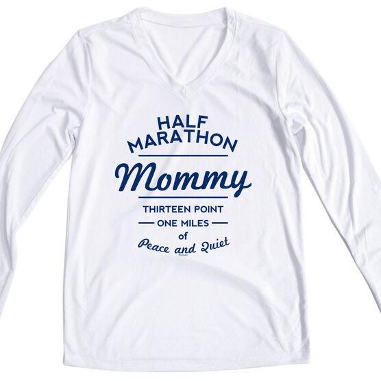 Women's Customized White Long Sleeve Tech Tee Half Marathon Mommy