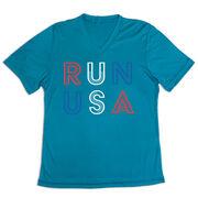 Women's Short Sleeve Tech Tee - Run USA