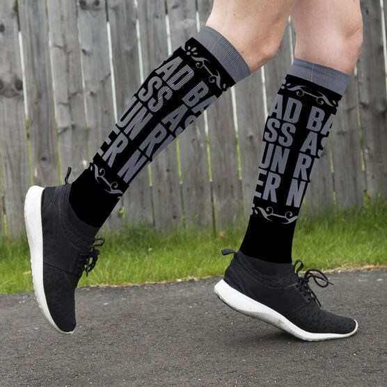 Running Printed Knee-High Socks - Bad Ass Runner