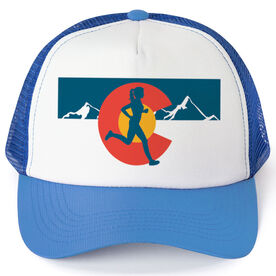 Running Trucker Hat - Colorado Flag Female Runner