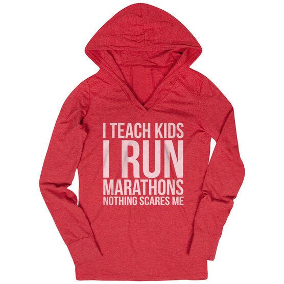 Women's Running Lightweight Performance Hoodie - I Teach Kids I Run Marathons
