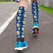 Running Printed Knee-High Socks - Beer Mug Pattern