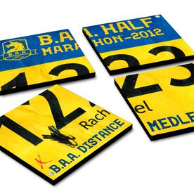 BibCOASTERS Your Race Bib on Set of 4 Coasters  - Glossy Tile Coasters