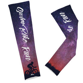 Triathlon Printed Arm Sleeves Swim Bike Run Words
