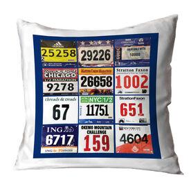 Running Throw Pillow - Custom Race Bib (12 Bibs)