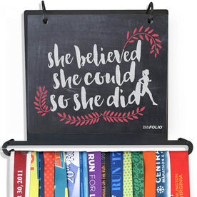 BibFOLIO+™ Race Bib and Medal Display - She Believed She Could So She Did Chalkboard