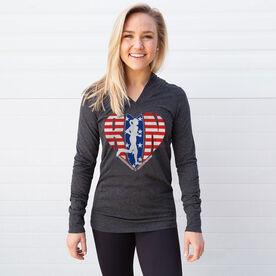Women's Running Lightweight Performance Hoodie - Moms Run This Town Patriotic Heart