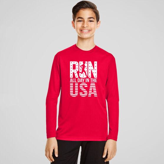 Men's Running Long Sleeve Tech Tee - Run All Day In The USA